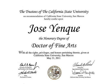 California State University Honorary Degrees Conferred in 2011 - Jose Yenque